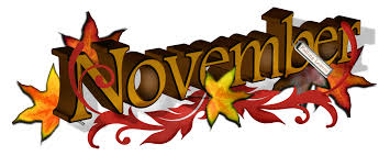 the word November with yellow, orange and red leaves
