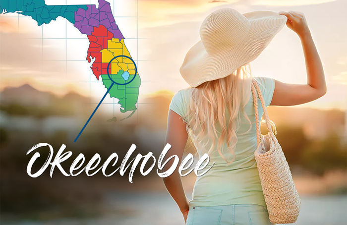 blonde lady with straw hat and bag state of florida map