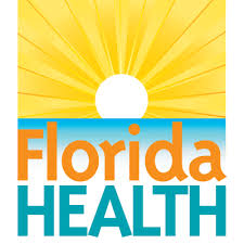 florida health text with a sun rising over water