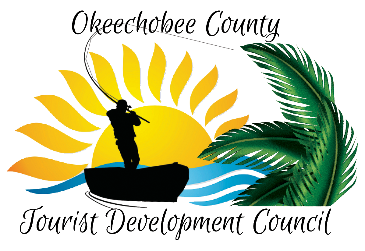 new tdc logo with fisherman palm fronds water and sun with okeechobee county tourist development council